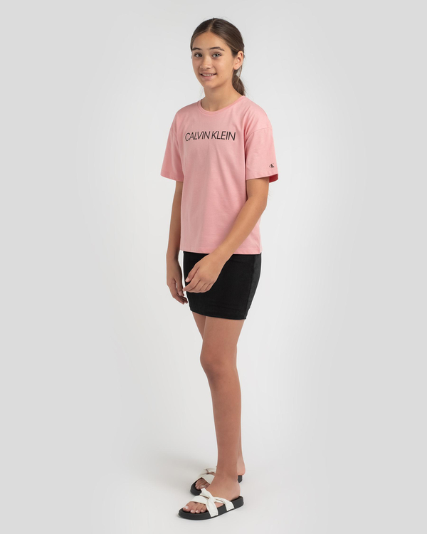 Calvin Klein Girls' Institutional Logo Boxy T-Shirt for Womens image number null